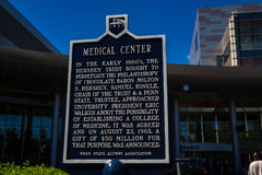 Medical Center History Sign at Hershey. Hershey, PA - August 22, 2016: Penn State Hershey Medical Center history sign near an entrance Stock Images