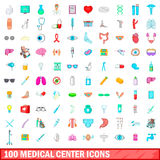 100 medical center icons set, cartoon style. 100 medical center icons set in cartoon style for any design vector illustration Stock Images