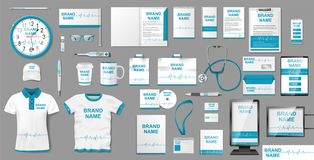 Medical Center or Pharmacy Branding identity design. Pharmacy Stationery mockup template elements, brochure, advertising royalty free stock images