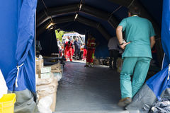 Medical center, Rieti Emergency Camp, Amatrice, Italy Stock Images
