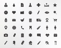 Medical center silhouettes icons set Stock Image