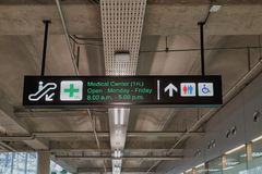 Medical center and toilets information board sign international airport terminal Stock Images