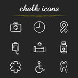 Medical chalk icons set. First aid kit, clock, aids ribbon, blood bag, hospital bed, medication bottle, star of life, wheelchair, tooth illustrations.  vector Royalty Free Stock Image
