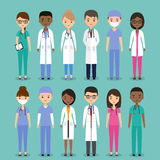 Medical characters. Doctors and nurses in flat design. Vector il Royalty Free Stock Photo