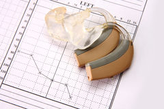 Medical chart and hearing aid Stock Photos