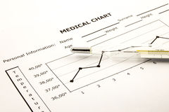 Medical Chart with Thermometer Stock Image