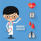 Medical check up with man doctor characters. Man doctor characters, Medical check up with and icons set Stock Photo