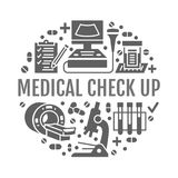Medical check up poster template. Vector flat glyph icons, illustration of health care center, equipment, mri. Ultrasound, blood test, microscope. Healthcare royalty free illustration