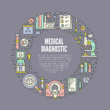Medical Check-Up. Medical research and healthcare design element. Medical illustration made in line style vector. Modern technology Royalty Free Stock Photos