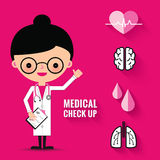 Medical check up with woman doctor characters. Stock Photos