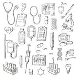 Medical checkup and treatments sketch icons. Sketched stethoscopes, thermometers and syringes, medicines, test tubes and drip chambers, microscope, heart and ear Stock Photo