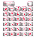 Medical Chrome Icons stock images