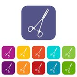 Medical clamp scissors icons set flat Stock Image