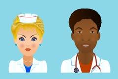Medical clinic staff flat avatars of doctors, nurses, surgeon, a Royalty Free Stock Photo