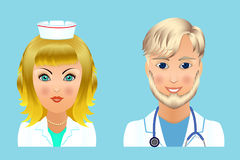 Medical clinic staff flat avatars of doctors, nurses, surgeon, a Royalty Free Stock Images