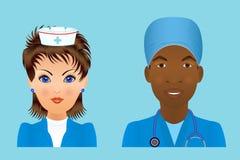 Medical clinic staff flat avatars of doctors, nurses, surgeon, a Royalty Free Stock Photography
