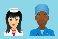 Medical clinic staff flat avatars of doctors, nurses, surgeon, a Stock Photos