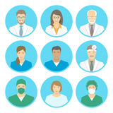 Medical clinic staff flat avatars. Of doctors, nurses, surgeon, assistant, patient. Vector round portraits, account profile pictures, male and female. Hospital Royalty Free Stock Photos