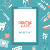 Medical clipboard with dental care text Royalty Free Stock Images