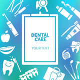 Medical clipboard with dental care text Stock Photos
