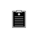 Medical clipboard solid icon, medical form. And disease history, vector graphics, a filled pattern on a white background, eps 10 Stock Photo