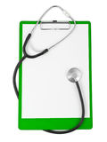 Medical clipboard and stethoscope Stock Photography