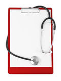 Medical clipboard and stethoscope Royalty Free Stock Image