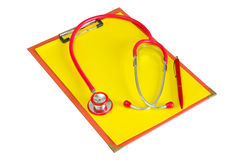 Medical clipboard with  stethoscope Stock Images