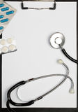 Medical Clipboard, Stethoscope And Pills Stock Images