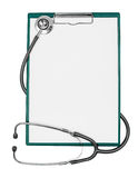Medical clipboard with stethoscope isolated Royalty Free Stock Photo