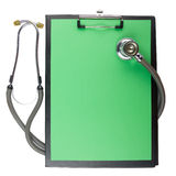 Medical clipboard and stethoscope isolated on white background. Royalty Free Stock Photo