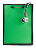 Medical clipboard and stethoscope isolated on white background. Concept of Healthcare And Medicine Stock Images