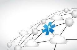 Medical cloud diagram network. illustration design Stock Photo