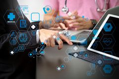 Medical co working concept,Doctor working with smart phone and d vector illustration