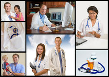 Medical collage. Doctor or Nurse standing with white background Royalty Free Stock Image