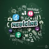 Medical collage with icons on blackboard Royalty Free Stock Images