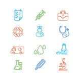 Medical Colorful Outline Icon Set. Vector Stock Photography