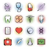 Medical comics icons Royalty Free Stock Photo