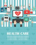 Medical computer with heart flat design. lorem ipsum is simply text. Vector illustration royalty free illustration