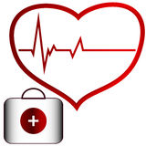 Medical concept. Of the heart and doctor bag Stock Images