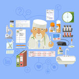 Medical concept banner poster composition Royalty Free Stock Photos