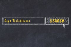 Medical concept. Chalk drawing of a search engine window looking for drug depo testosterone.  royalty free stock photography