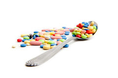 Medical concept created by pills . Stock Photos