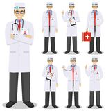 Medical concept. Detailed illustration of american european doctors in flat style isolated on white background. Detailed illustration of american european Stock Photography