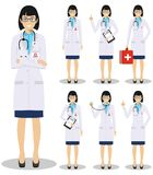 Medical concept. Detailed illustration of american european doctors in flat style isolated on white background. Detailed illustration of american european Stock Image