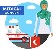 Medical concept. Detailed illustration of arabic muslim emergency doctor woman in uniform on background with ambulance car in flat Royalty Free Stock Photography