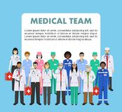 Medical concept. Detailed illustration of doctor and nurses in flat style isolated on blue background. Practitioner. Detailed illustration of medical people in Stock Photos