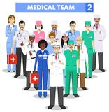 Medical concept. Detailed illustration of doctor and nurses in flat style isolated on white background. Practitioner doctors man. Detailed illustration of Royalty Free Stock Images
