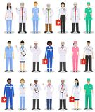 Medical concept. Detailed illustration of doctor and nurses in flat style isolated on white background. Practitioner. Detailed illustration of medical people in Stock Image