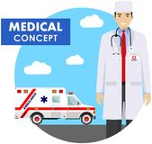 Medical concept. Detailed illustration of emergency doctor man in uniform on background with ambulance car in flat style Royalty Free Stock Photos